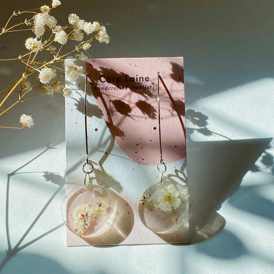 Silver Baby's Breath Drop Earrings