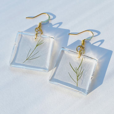 Green Sprig Drop Earrings
