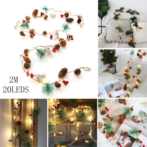 50% OFF-Pine Cones Jingle Bell with Berries Copper String Lights