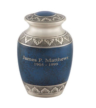 Load image into Gallery viewer, Athens Pewter Blue Urn