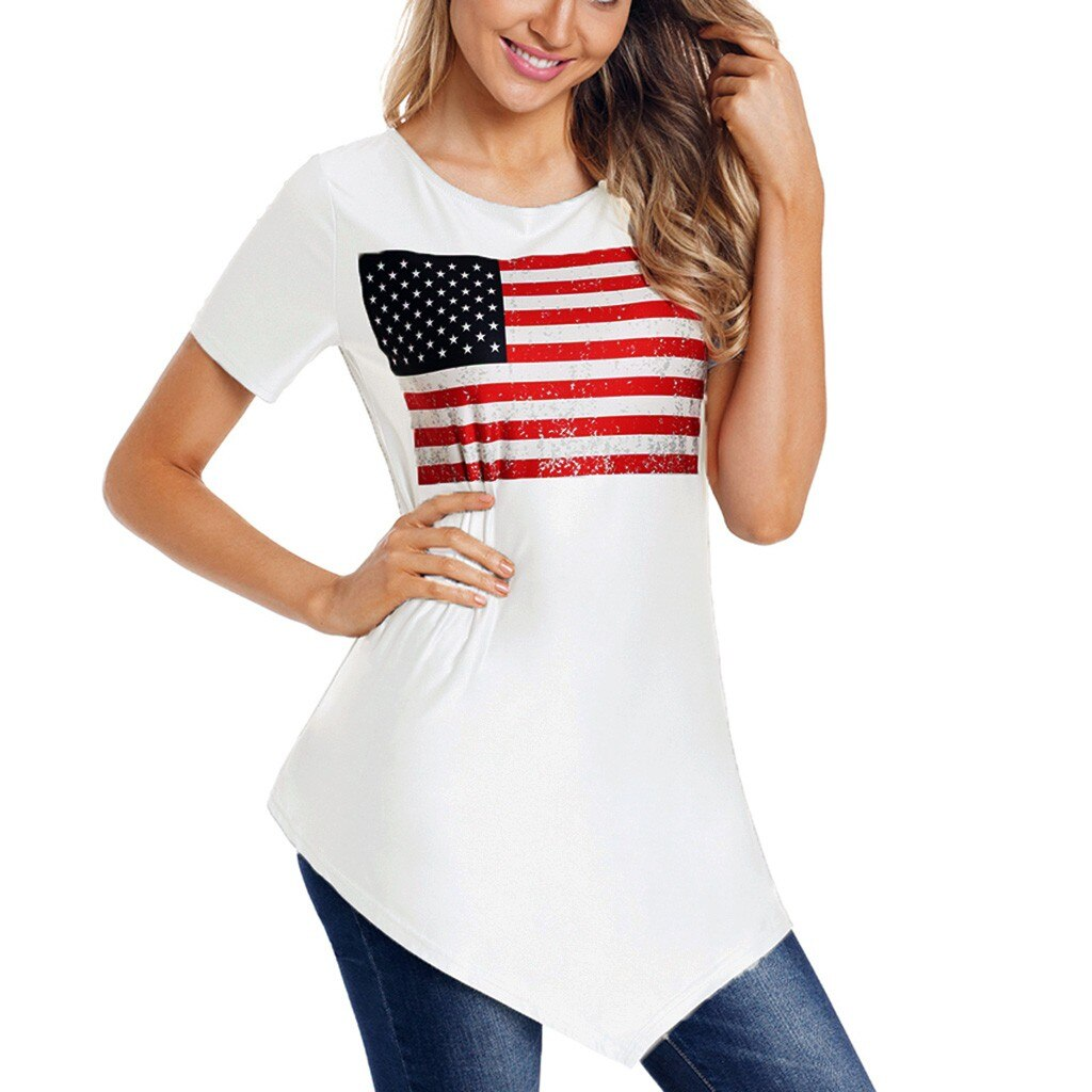 FREE USPS(4-7 days) SHIPS FROM USA/WOMEN US FLAG PRINT T SHIRT LOOSE