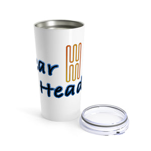 Gear head 20oz travel mug for car enthusiasts - white