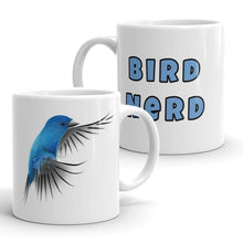 Load image into Gallery viewer, Bird Nerd Coffee Mug with Indigo Bunting Artwork by ARTISTICPX