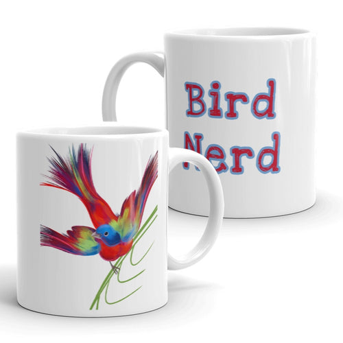 Bird Nerd Coffee Mug with Painted Bunting Artwork by ARTISTICPX