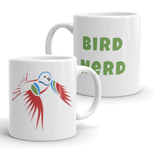 Load image into Gallery viewer, Bird Nerd Coffee Mug with Painted Bunting Artwork by ARTISTICPX