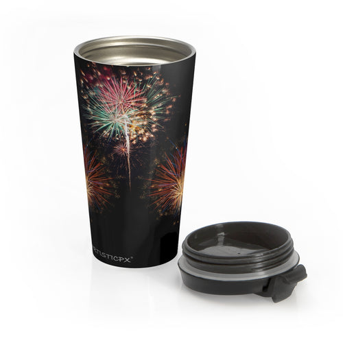 Fireworks Stainless Steel Travel Mug - Celebrate the festivities