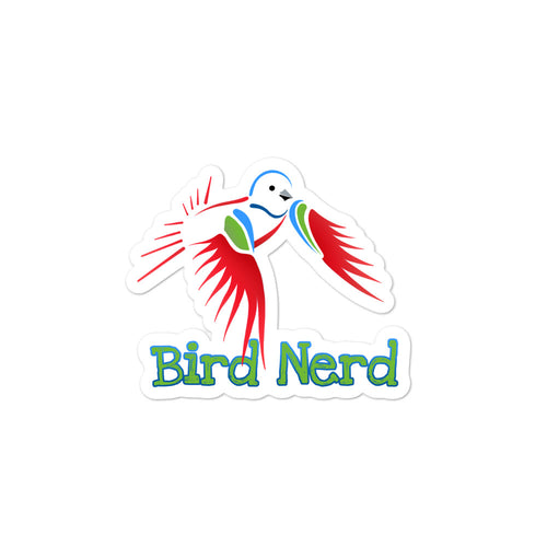 Kiss-Cut Bubble-free Bird Nerd Stickers featuring Painted Bunting artwork