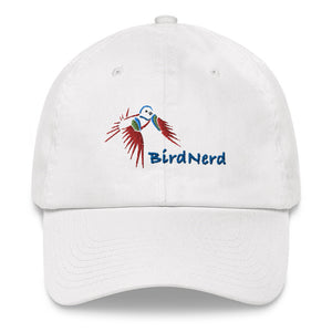 Bird Nerd baseball hat featuring an embroidered Painted Bunting
