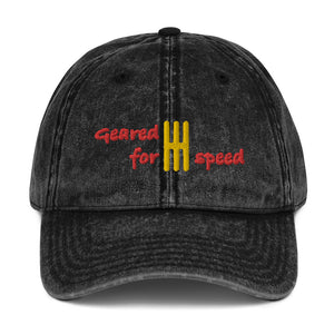Geared for Speed Embroidered Vintage Twill Baseball Cap - Multiple Colors Available