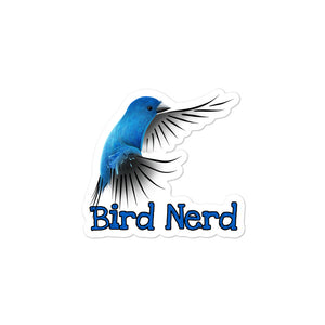 Kiss-Cut Bubble-free Bird Nerd Stickers featuring Indigo Bunting artwork