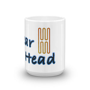 Gear head coffee mug for car guys or gals with a passion for cars.