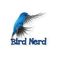 Load image into Gallery viewer, Kiss-Cut Bubble-free Bird Nerd Stickers featuring Indigo Bunting artwork