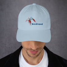 Load image into Gallery viewer, Bird Nerd baseball hat featuring an embroidered Painted Bunting
