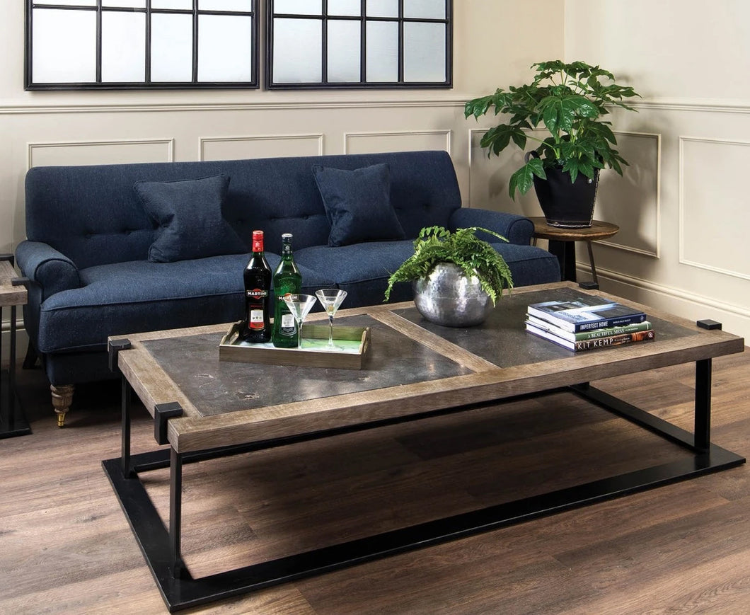 The Natasha - Oak & Iron Coffee Table with Stone Top