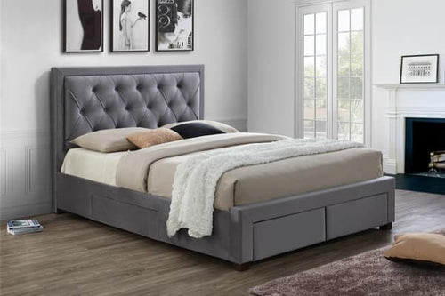 The Kenya - Diamond Tufted Fabric Bed
