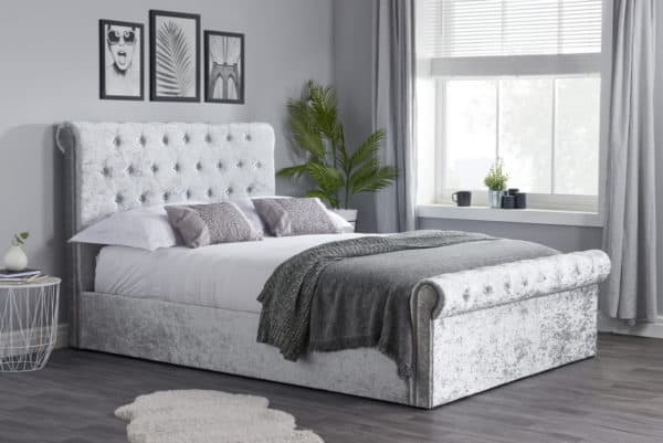 The Jilly - Steel Crushed Velvet Ottoman Bed