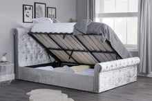 Load image into Gallery viewer, The Jilly - Steel Crushed Velvet Ottoman Bed