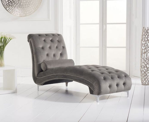 The Anya - Grey Velvet Chaise Longue