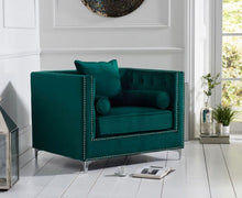 Load image into Gallery viewer, The Anya - Blue Velvet Armchair