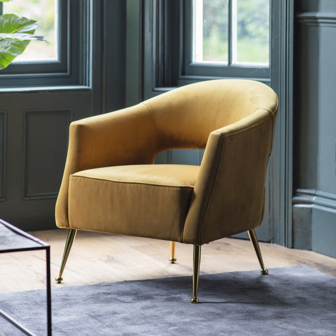The Jasmine- Gold Velvet Armchair