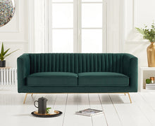 Load image into Gallery viewer, The Saffron - Green Velvet 2 Seater Sofa