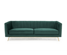 Load image into Gallery viewer, The Saffron - Green Velvet 3 Seater Sofa