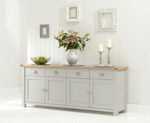 The Lilah - 4 Door 4 Drawer Grey & Oak Sideboard