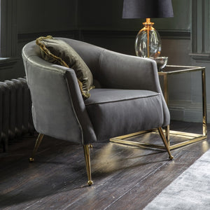 The Jasmine- Grey Velvet Armchair