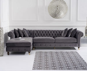The Joanna - Chesterfield Dark Grey Chaise Sofa