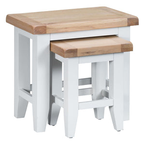 The Isla - White Painted Oak Nest of 3 Tables