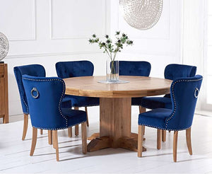 The Zara -  Solid Oak Round Pedestal Dining Table with Velvet Chairs