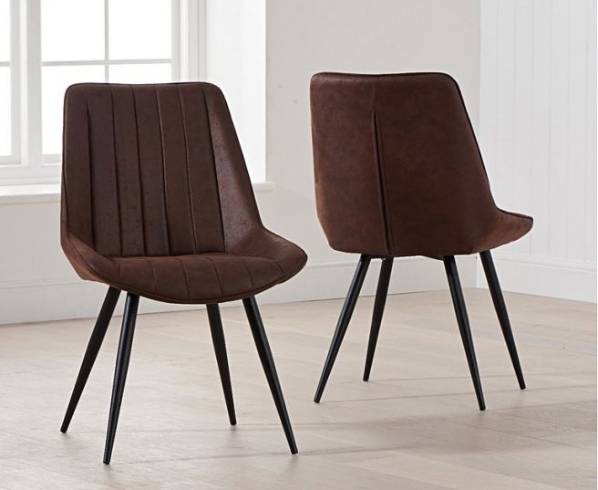 The Rowena - Brown Fabric Dining Chairs (Pair)