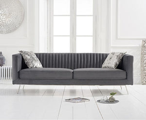The Saffron - Grey Velvet 3 Seater Sofa