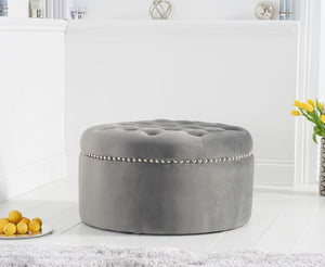 The Anya - Grey Velvet Foot Stool