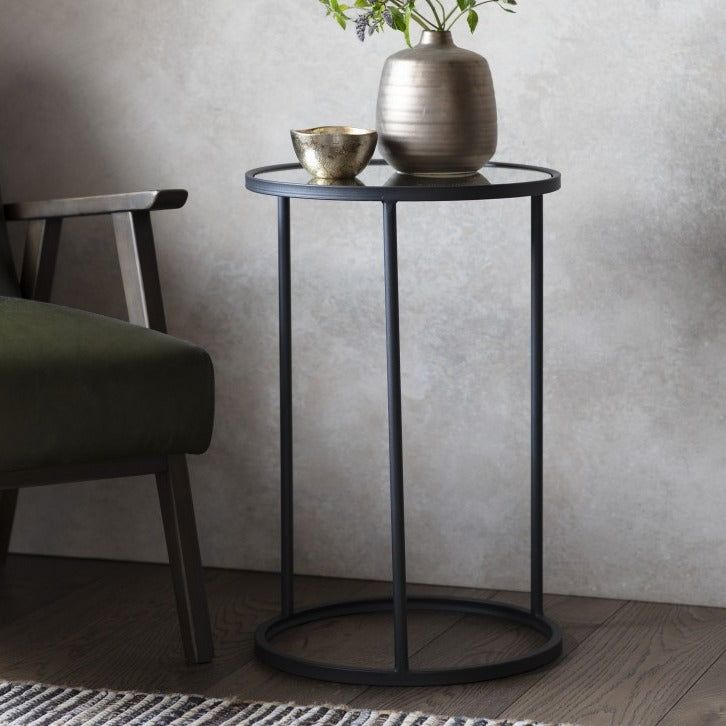 The Emma - Black & Glass Side Table