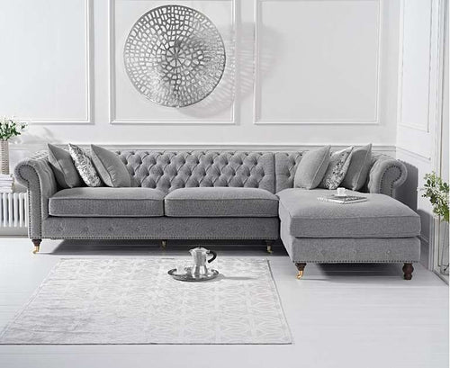 The Joanna - Chesterfield Light Grey Chaise Sofa
