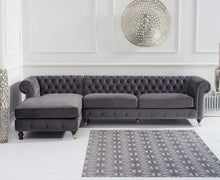 Load image into Gallery viewer, The Joanna - Chesterfield Dark Grey Chaise Sofa