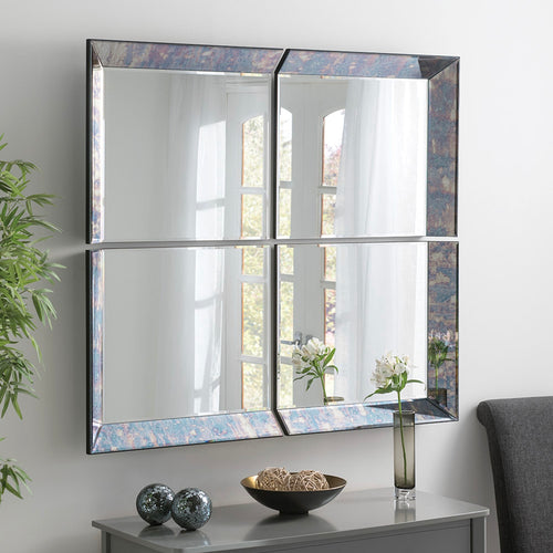 The Kesia - 4 Panel Antique Blue Framed Mirror