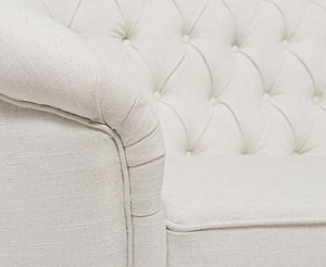The Jacque - Chesterfield Ivory Fabric Three-Seater Sofa