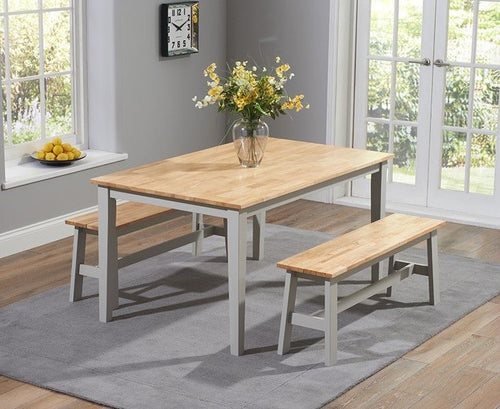The Tessa - 150cm Grey & Oak Dining Bench  Set