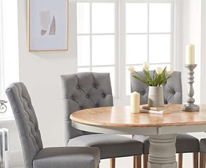 The Stella - Oak and Grey Pedestal Extending Dining Table with 6 Grey Fabric Dining Chairs