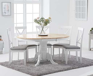The Daniella - Oak and White Round Extending Dining Set with 4 Chairs