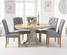 Load image into Gallery viewer, The Stella - Oak and Grey Pedestal Extending Dining Table with 6 Grey Fabric Dining Chairs