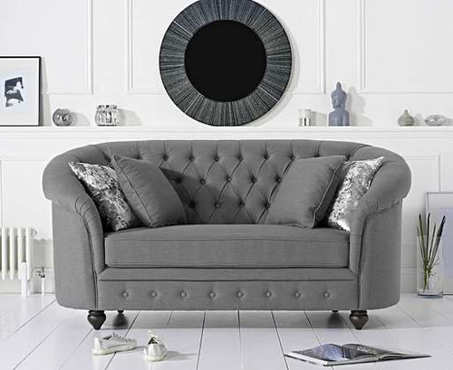The Jacque - Chesterfield Grey Fabric Two-Seater Sofa