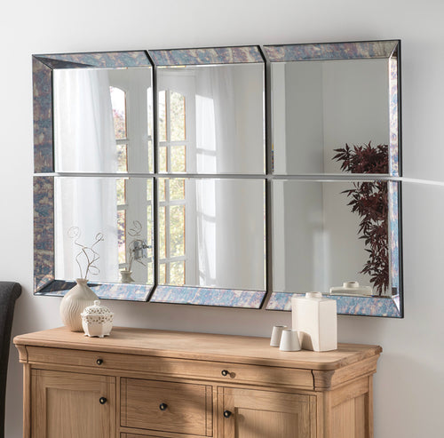 The Kesia - 6 Panel Antique Blue Framed Mirror