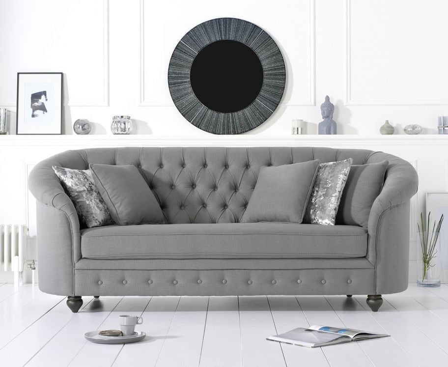 The Jacque - Chesterfield Grey Fabric Three-Seater Sofa
