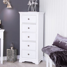 Load image into Gallery viewer, The Cindy - 5 Drawer White Painted Tallboy