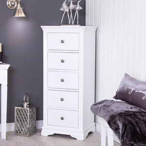 The Cindy - 5 Drawer White Painted Tallboy