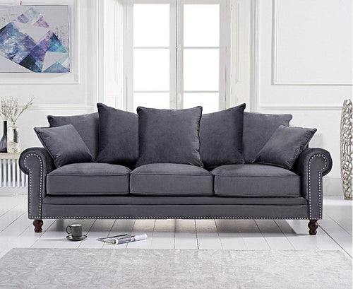 The Celia -  Grey Plush Fabric 3 Seater Sofa
