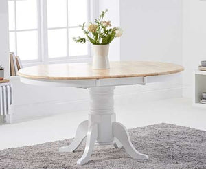The Stella - Oak and White Extending Dining Table with 6 Grey Fabric Dining Chairs